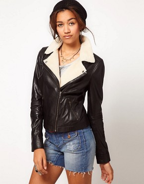 Image 1 ofBlue Valley Shearling Leather Biker Jacket