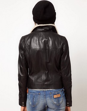 Image 2 ofBlue Valley Shearling Leather Biker Jacket