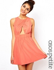 ASOS PETITE Exclusive Skater Mini Dress With Cut Out Front