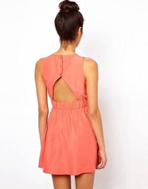 Image 2 ofASOS PETITE Exclusive Skater Mini Dress With Cut Out Front