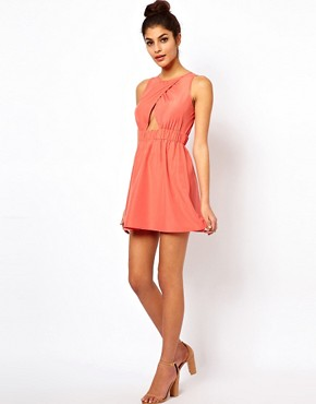 Image 4 ofASOS PETITE Exclusive Skater Mini Dress With Cut Out Front