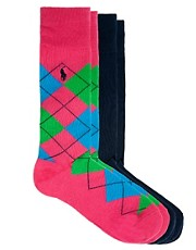 Polo Ralph Lauren  Socken mit Argyle-Muster im 2er-Set