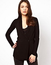James Perse Notch Collar Soft Drapey Jacket with Jersey Skinny Sleeve