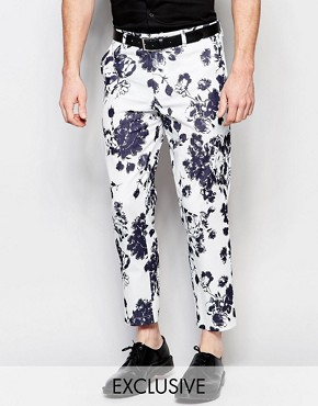 Reclaimed Vintage Skinny Trousers In Floral Print