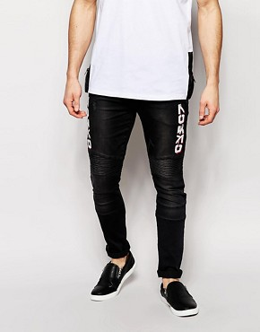 ASOS Super Skinny Jeans With Biker Styling And Print