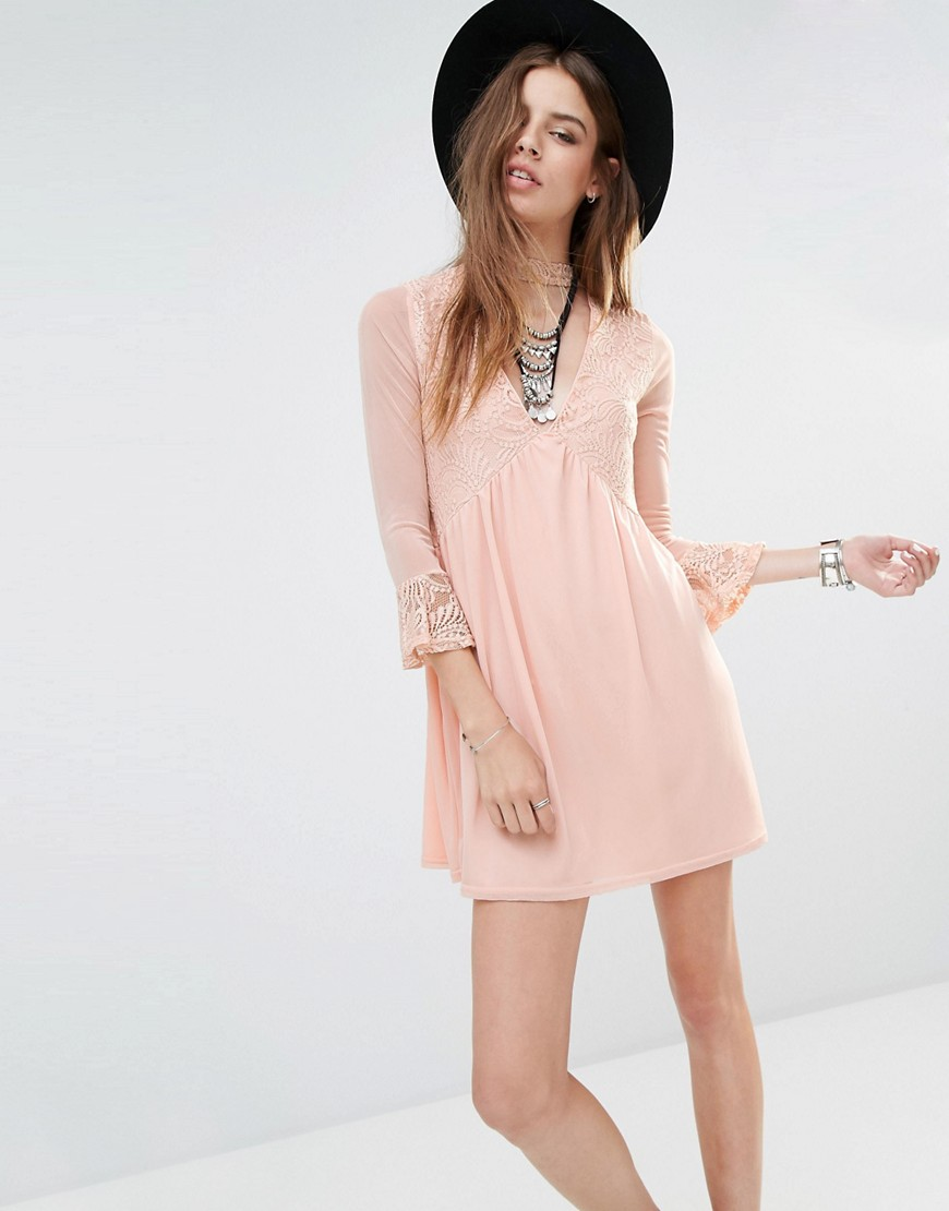 Rokoko Lace Insert Smock Dress With Choker Detail - Pink