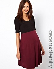ASOS Maternity Skater Dress in Color Block