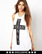 Religion Live East Die East Cross Print Dress Exclusive To ASOS