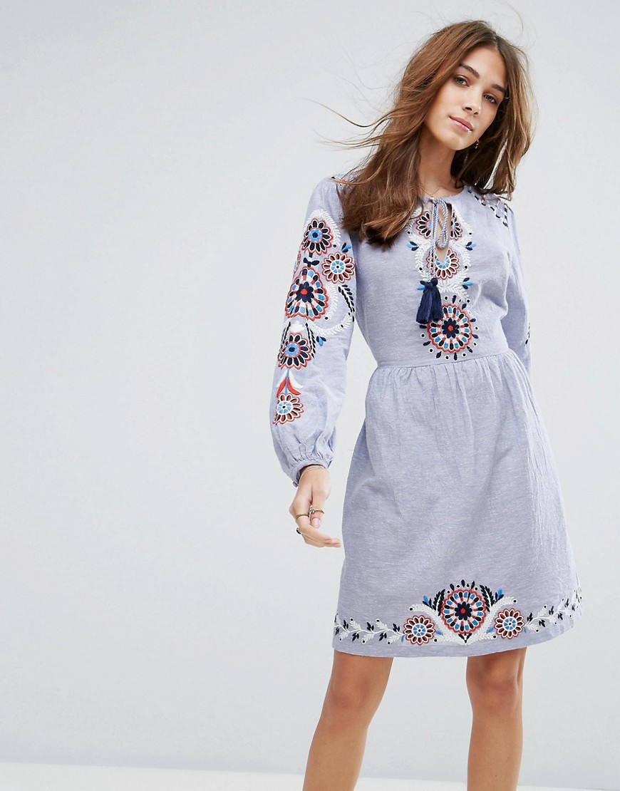 New Look Embroidered Smock Dress - Blue