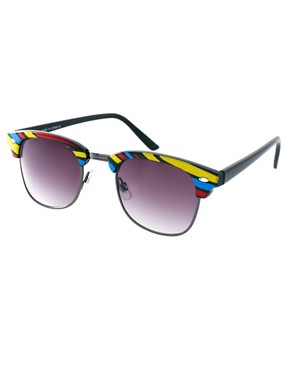 Image 1 ofASOS Stripe Clubmaster Sunglasses