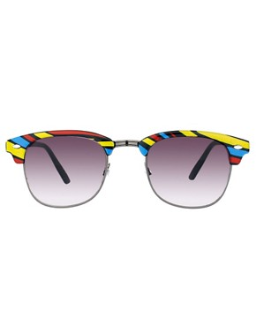 Image 2 ofASOS Stripe Clubmaster Sunglasses