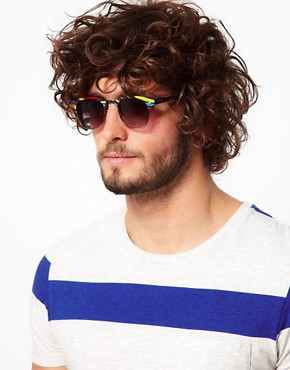 Image 3 ofASOS Stripe Clubmaster Sunglasses