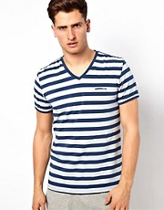 Diesel - T-shirt a righe con scollo a V