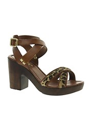 Carvela Krave Leather Wooden Heeled Sandals