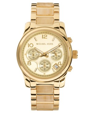 Image 1 ofMichael Kors Cream &amp; Gold Chronograph Watch