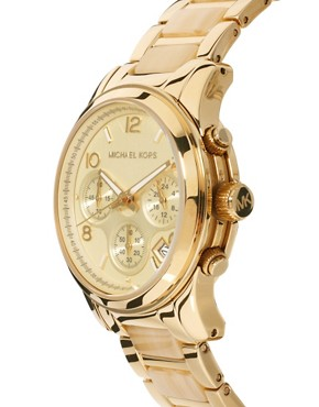 Image 4 ofMichael Kors Cream &amp; Gold Chronograph Watch