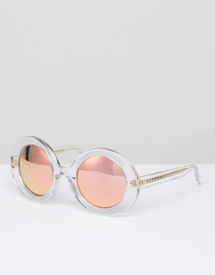 Круглые солнцезащитные очки в прозрачной оправе с персиковыми стеклами от Matthew Williamson