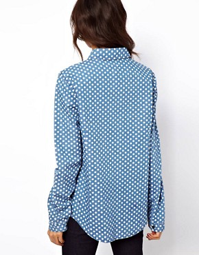 Image 2 ofASOS Denim Shirt in Spot Print