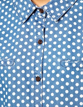 Image 3 ofASOS Denim Shirt in Spot Print