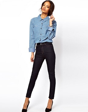 Image 4 ofASOS Denim Shirt in Spot Print