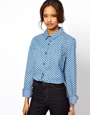 Image 1 ofASOS Denim Shirt in Spot Print