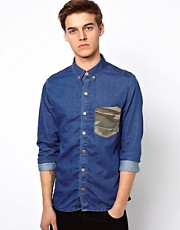 Revolution Denim Shirt With Camo Pocket