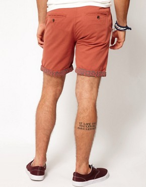 Image 2 ofASOS Chino Shorts With Aztec Turn Up