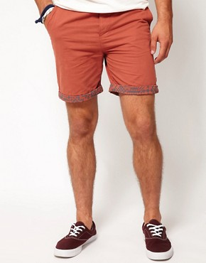 Image 1 ofASOS Chino Shorts With Aztec Turn Up