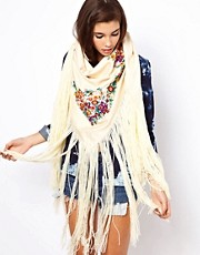 ASOS Oversized Hand Embroidered Tassel Scarf