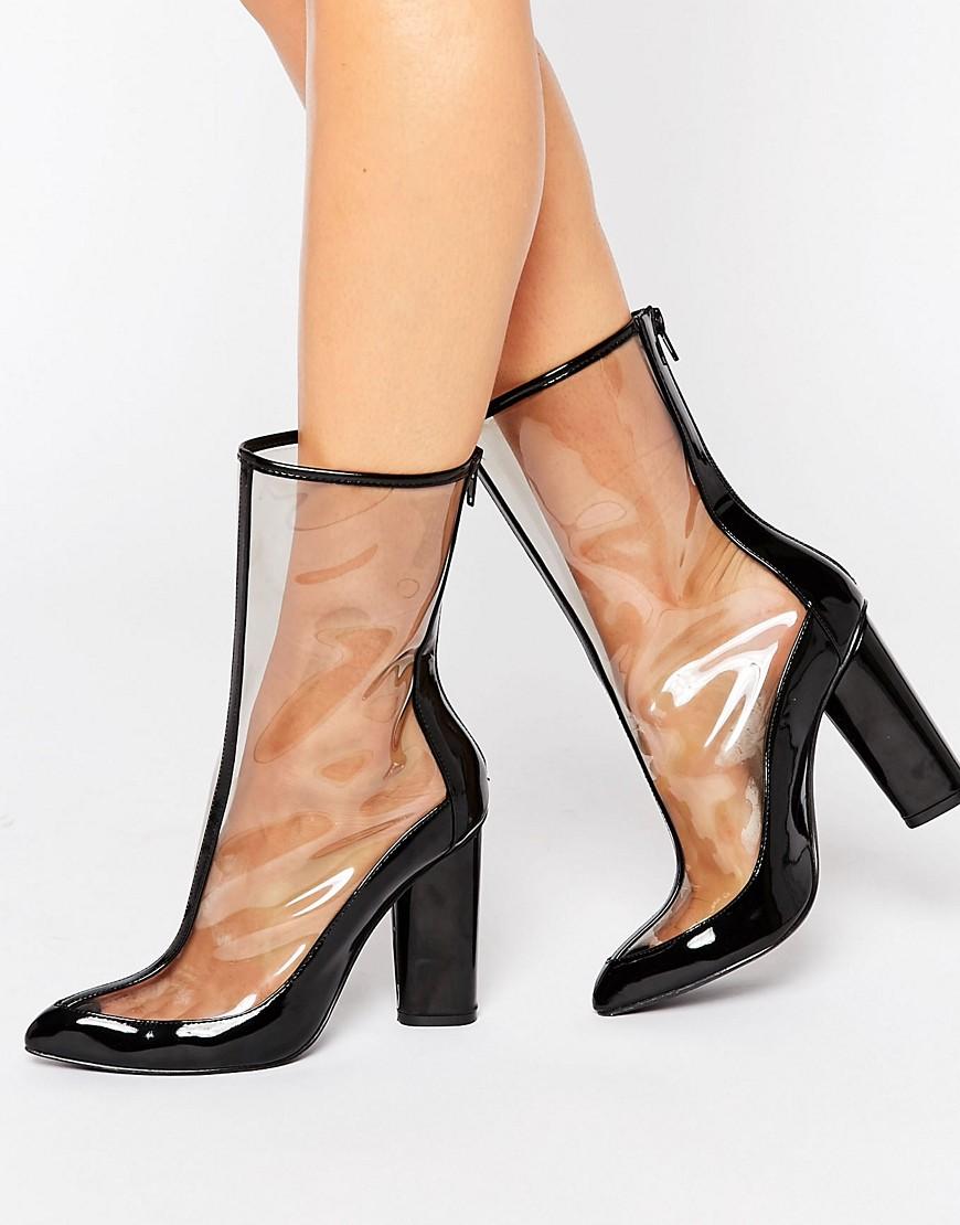Missguided - Spitze, transparente Ankle-Boots in Lackoptik - Schwarz - Farbe:Schwarz