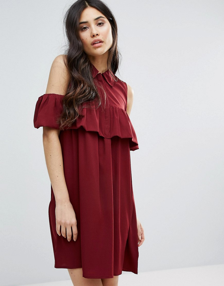 Ax Paris Cold Shoulder Frill Mini Smock Dress - Red
