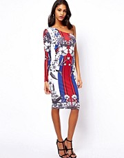 ASOS Midi Dress With One Shoulder Linear Floral Print