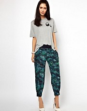 Lulu &amp; Co Palm Print Silk Joggers