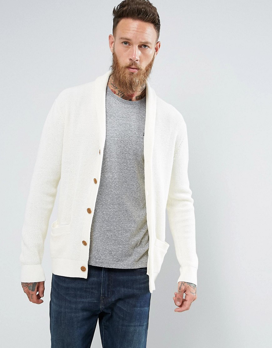 Abercrombie & Fitch Knit Cardigan Washed Stitch in Cream - Cream