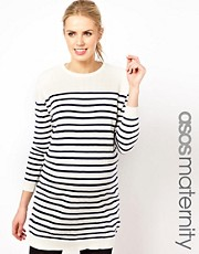 ASOS Maternity Knitted Dress In Sailor Stripe