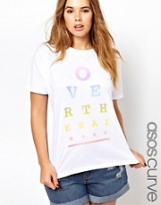 Esclusiva ASOS CURVE - T-shirt con stampa &quot;Over the rainbow&quot;