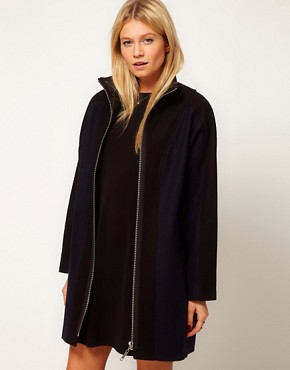 Image 1 ofASOS Blocked Zip Front Coat