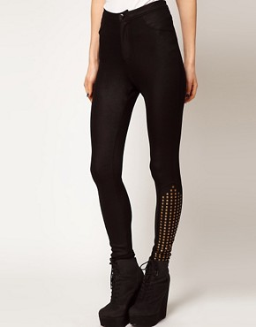 Image 4 ofASOS PETITE Exclusive Studded Disco Pants In High Shine