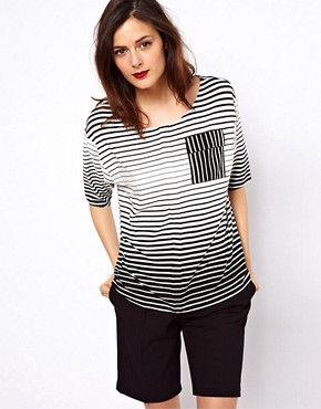 Image 1 ofASOS T- Shirt in Stripe with Pocket Detail