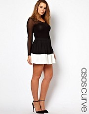ASOS CURVE Skater Skirt In Colourblock