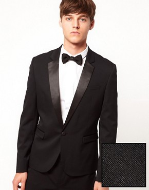 ASOS Skinny Fit Tuxedo Suit Jacket In Black Polywool