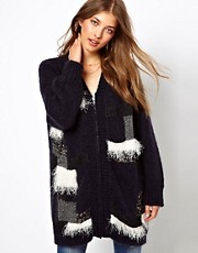 Ganni Wool Patchwork Coatigan