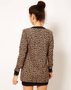 Image 2 ofReverse Leopard Print Studded Shoulder Cardigan
