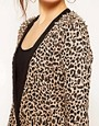 Image 3 ofReverse Leopard Print Studded Shoulder Cardigan