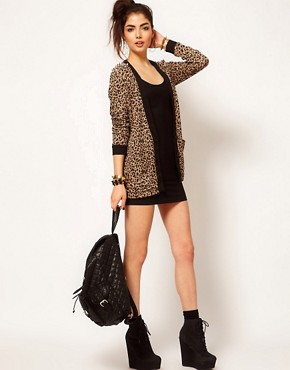 Image 4 ofReverse Leopard Print Studded Shoulder Cardigan