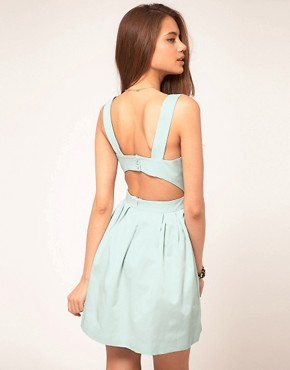 Image 1 ofASOS Skater Dress with Cut Out Back
