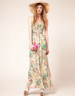Image 1 ofTed Baker Maxi Dress In Paradise Brid Print