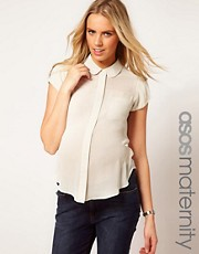 ASOS Maternity Blouse With Peter Pan Collar And Balloon Sleeve
