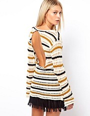 ASOS Striped Open Knit Sweater With Back Detail