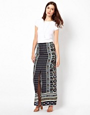 Warehouse Monoscarf Print Maxi Skirt